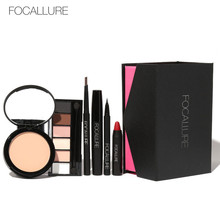 FOCALLURE 6Pcs Face Makup Cosmetic Set Foundation Concealer Eyeshadow Mascara Lipstick Powder Matte with Pencil Case Make Up Kit(China)