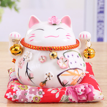 Crafts Arts Home decoration Lucky Cat ornaments opening trumpet piggy desk ceramic jewelry creative gift car decoration(China)