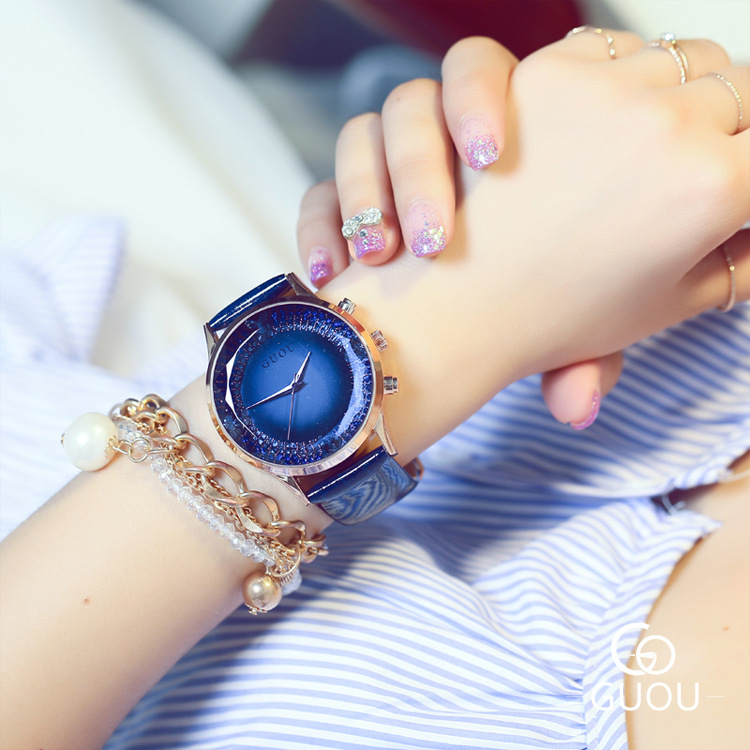 Fashion Luxury Top Brand Genuine Leather Strap Bling Glitter Quartz Ladies Women Female Dress Wristwatch Mujer Relojes OP001<br><br>Aliexpress