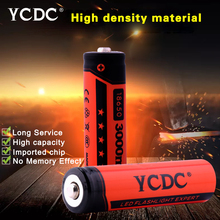 YCDC Rechargeable 18650 Batteries Low Price 4PCS-20PCS 3.7V 3000 mAh Lithium li-ion Battery for LED Flashlight Red Color bateria(China)