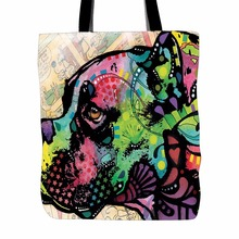 Cute Boston Terrier Tote Bags Light Color Double Sided Printing Canvas Animals Tote Bag Art Dog Designed Shopping Handle Bags