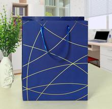 03.14/18x8x25cm Lines Hot Stamping Laminated Paper Gift Bags with Ribbon Handle Candy Red Blue Black Coffee Business Present Bag