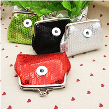 Sequins 18MM Snap Button Jewelry  Coin Purses Small Wallets Pouch Kids Girl Women's Money Bags For Gift QB311