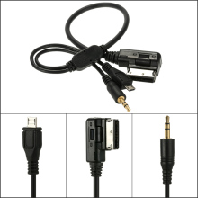 KKmoon 3.5mm Mini Jack Aux MP3 Cable USB Adapter Music AMI MMI Interface for Audi A3 A4 A5 A6 TT for VW Jetta GTI GLI Car Style