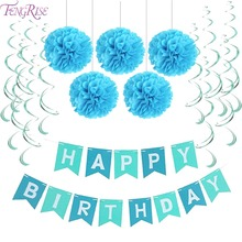 FENGRISE First Birthday Party Paper Decoration Set Happy Birthday Banner Hanging Swirls Pom Poms Boy Girl Party Favors Blue Pink(China)