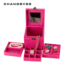 Multi Layer Jewelry Box For dresser Make Up Organizer Jewelry Display Case Storage Box Cosmetic Organizer Birthday Gift For Girl(China)