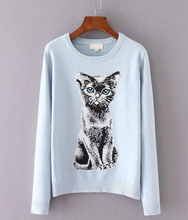 Korean 2017 Spring Womens Sweaters O-neck Long Sleeve Slim Kitty Pattern Harajuku Sweater Ladies Cute Cat Sweaters and Pullovers