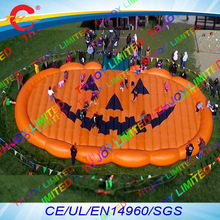 free air shipping to door,12x7m halloween inflatable jump pad,giant commercial pumpkin bouncer air jumper jumping mats(China)