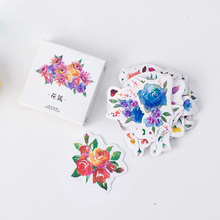 45 pcs/lot (1 bag) DIY Cute Kawaii Flower Stickers Label Sticky Paper For Scrapbooking Photo Album Free Shipping 3340