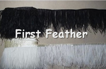 "10yards/Lot 6-8"" Ostrich Feather Trim Ostrich Feather Fringe Black&White Color Available Ostrich Feather boa Free Shipping MQ078"