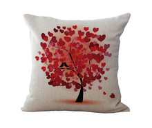 Wholesale 100% New Linen Tree Life Cushion Pillow for home decoration No filling 18inch cushions home decor(China)