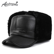 Buy AETRENDS 2017 Winter Bomber Hats Men Winter PU Leather Flat Dad Hat Hats Warm Ears Flaps Russian Cap Z-3863 for $8.78 in AliExpress store