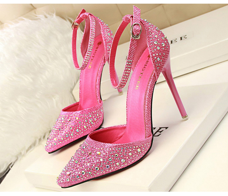 Women Pumps Sexy High Heels Shoes Woman Silver Rhinestone Wedding Shoes High Heels Party Shoes Summer Hight Heels Sandals 12