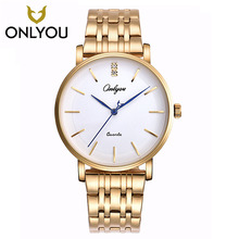 ONLYOU Men Watches Top Brand Luxury Gold Quartz Women Watch Gift Clock Ladies Gold Dress Wristwatch Stainless Steel lovers watch(China)
