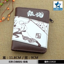 Japanese Anime Gintama Chocolate PU Short Wallet Sakata Gintoki Purse With Zipper