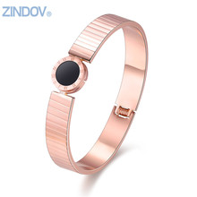 Brand Statement Jewelry Stainless Steel Bangles Bracelets For Womens Rose Gold/Gold/Silver Color Belt Design With Black Enamel