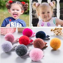10 Pcs (5 pairs) Small Pom Ball Hair Grips Girls' Hair Clips KIds Fashion accessories(China)