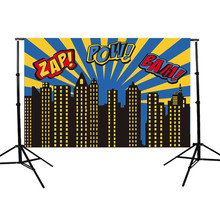 7x5ft Vinyl Photography Background Superhero Theme Buildings For Studio Photo Props Photographic Backdrops cloth 2.1x 1.5m