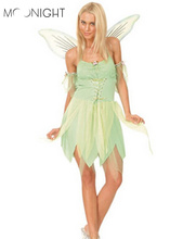 MOONIGHT Woodland Green Gorgeous Fairy Princess Tinkerbell Party Dress Halloween Party Costume Medieval Costume Renaissance