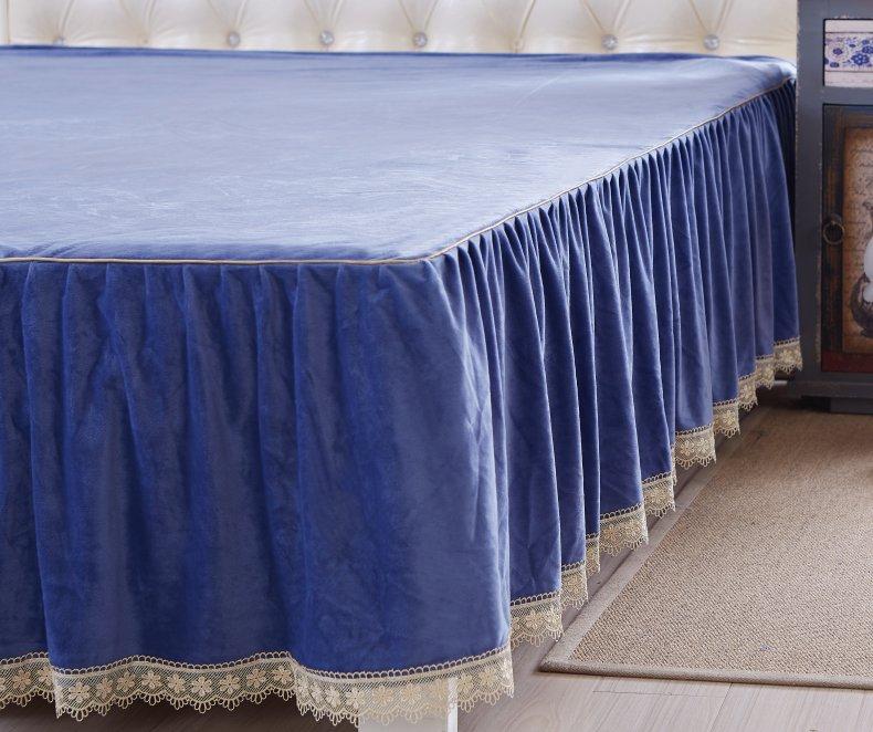 3Pcs Fleece Bed Skirt Set W/ Pillowcases, Mattress Protective Cover 42