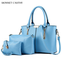 MONNET CAUTHY Newest Female Bags Candy Color Sky Blue Pink Lavender White Black Tote Handbags Concise Fashion Lady Composite Bag