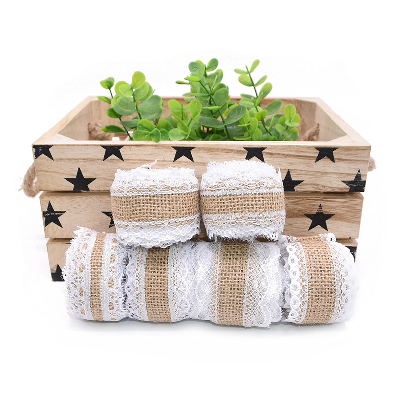 2M/roll 2.5cm Jute Burlap Rolls With Lace Vintage Hessian Ribbon for Rustic Wedding Decoration Ornament Festival Party Supplies