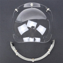 retro helmet bubble visor 9 color available open face helmet windshield compatible with 3 pin helmet adjustable(China)