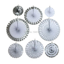 ipalmay Gold Silver Glitter Paper Fans Rosettes Hanging Christmas Holiday Party Decorations Favor New Year Pinwheel Fans