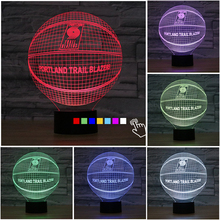 Fding NBA Portland Trail Blazers 3D Light 7 Color Changing Acrylic 3D Nightlight Basketball Led Bulb Touch Bedside Sleeping Lamp