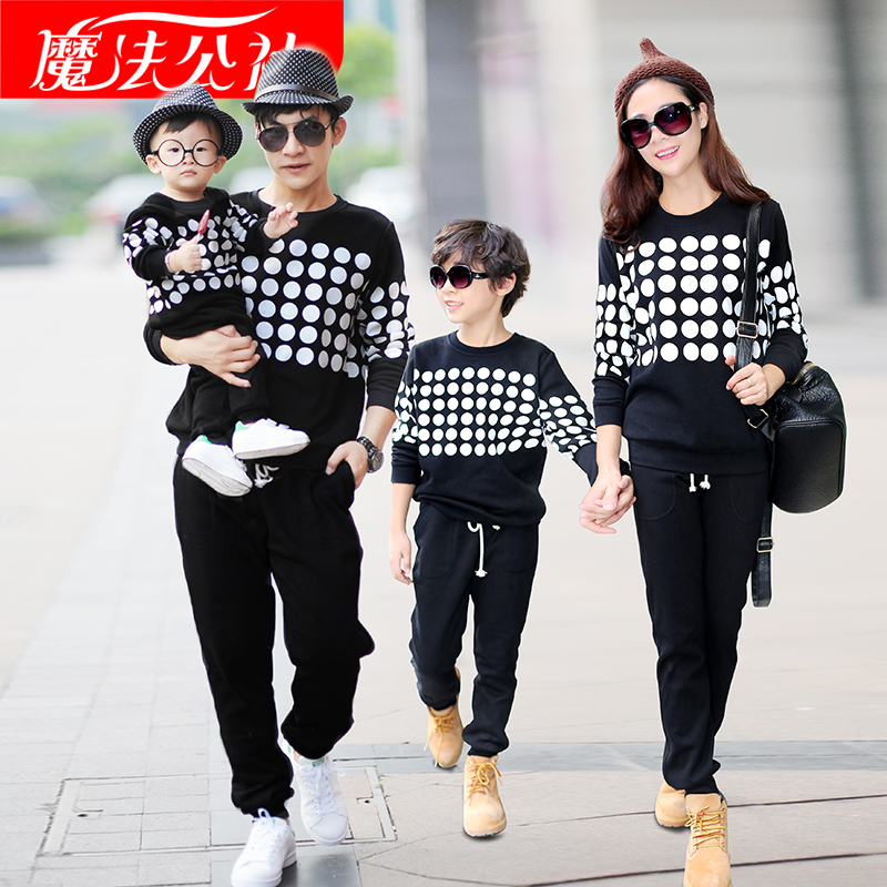 Matching Family Clothing Sweater Sport Sets 2017 Autumn Winter Family Look Matching Mother Daughter Father Son Dot Sweater Sets<br>
