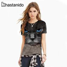 Tee Shirt Women Cat Digital Print O-Neck Tees Short Sleeve Casual Tops Punk Plus Size T-Shirt Couple Clothes Ropa Mujer Roupas