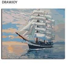 DRAWJOY Framless Wall Art Painting By Numbers Hand Painted On Canvas Abstract Oil Painting Sail Boat Home Decor 40*50cm G423(China)