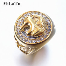 MiLaTu Exclusive Hip Hop Cool Lion Head Ring Stainless Steel Iced Out Bling Rhinestone Ring Men Gift US Size 7 to 15 R817G(China)