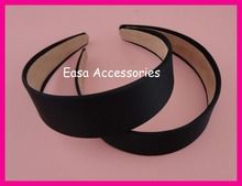 "5PCS 3.8cm 1.5"" Black Satin Fabric Covered Plain Plastic Hair Headbands with velvet back Handmade women hair accessories"