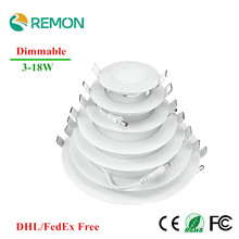 20pcs DHL Free Dimmable LED Panel Light Ultra Thin Ceiling Recessed Downlight 3w 4w 5w 6w 9w 12w 15w 18w Round LED Spot Light CE