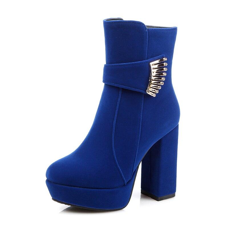 Big Size 32-48 Fashion Sexy High Heels Women Boots Zip Platform Metal Charm Boots Add Fur Thick Heels Fall Winter Women Shoes<br><br>Aliexpress