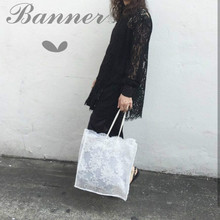 Women Lace Whit Floral Handbag Totes Purse Clutch Vintage Retro Chic Flower Shoulder Strappy Bags See Through Shopping Party(China)