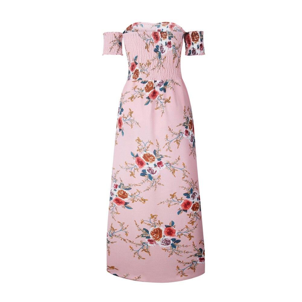 LOSSKY Off Shoulder Vintage Print Maxi Summer Dress 4