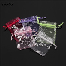25pcs/set Mixed Colors Butterfly Jewelry Packaging Drawable Organza Bags 7x9cm 9x12cm Small Jewelry Wedding Bag & Pouches F1740(China)