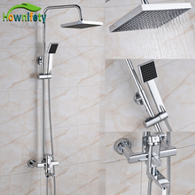 Chrome 8 Inch Rainfall Shower Head Bathroom Shower Faucet Bathtub Mixer Tap Wall Mount(China)