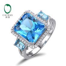 7.81CT!! 14ct White Gold Natural Diamond & Blue Topaz Ring , Wholesaler Jewelry, 14k Gold Ring