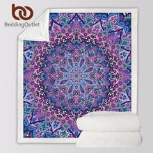 BeddingOutlet Velvet Plush Reversible Sherpa Blanket Pink and Purple Glowing Mandala Pattern Fleece Blanket Fuzzy Microfiber(China)