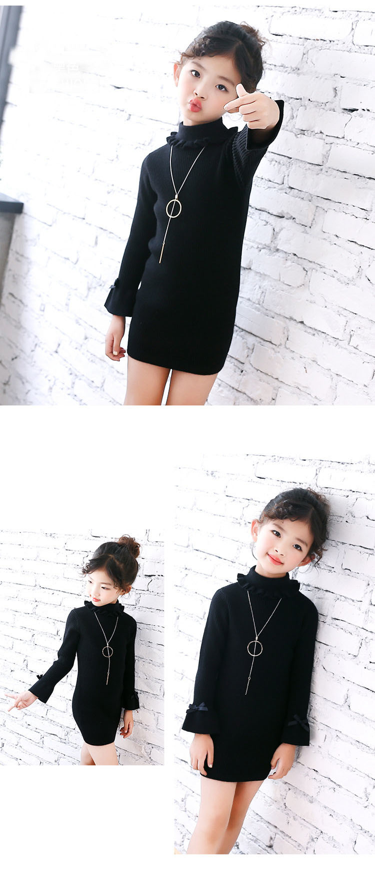 high neck knitting girls sweater dress kids clothes long sleeve knitted red black white autumn winter kids sweater knit tops 5 6 7 8 9 10 11 12 13 14 15 16 years little teenage big girls white girls dresses (8)