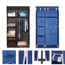 IKAYAA US Stock armario ropero Fabric Closet Wardrobe Cloth Cabinet Roll Up Clothes Organizer Hanger Rack with 5 Storage Shelves(China)