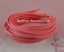 10PCS 5mm Hot Pink Fabric Full Covered Plain Metal Hair Headbands hairbands for DIY hair jewelry,watermelon Red(China)