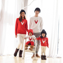 Christmas Family Look Deer Mommy and Me Clothes Matching Family Clothing Mother Daughter Mom Son Father Baby T-shirt red white(China)