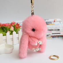 mini 13cm 15cm rabbits mink fur girl keychains real mink bunny keychain fur key chains bags bunnies Trinket pompon fur hare
