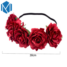 M MISM 1 pc Women Bridal Wedding Flower Headband Bohemian Style Artificial Floral Elastic Hairband Girl Garland Hair Accessories(China)