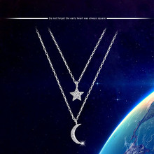 925 Sterling Silver Moon Stars Multilayer Chains Necklaces & Pendants For Women Romantic Style Cubic Zirconia Jewelry(China)