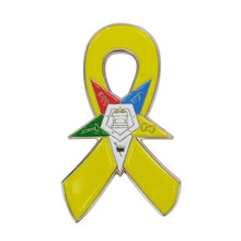 Support Our Troops Awareness Eastern Star OES Yellow Ribbon Lapel Pins(China)
